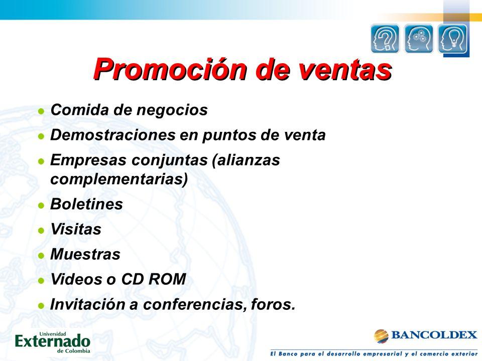 Promoción de ventas Cupones Descuentos Muestra gratis Premiar al consumidor leal Juegos inmediatos Sorteos Concursos Oferta de premios