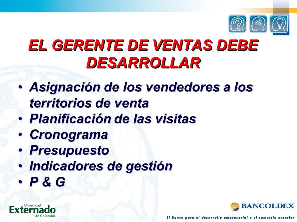 EL GERENTE DE VENTAS DEBE DESARROLLAR Especificación de los objetivos de ventaEspecificación de los objetivos de venta Elección del sistema y equipo d