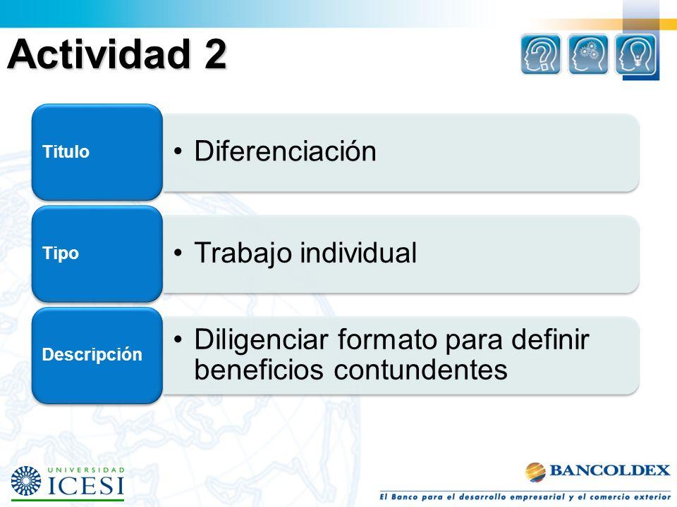 Actividad 2 Diferenciación Titulo Trabajo individual Tipo Diligenciar formato para definir beneficios contundentes Descripción