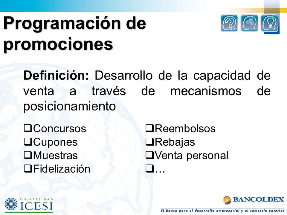 Programación de promociones Definición: Desarrollo de la capacidad de venta a través de mecanismos de posicionamiento Concursos Cupones Muestras Fidelización Reembolsos Rebajas Venta personal …