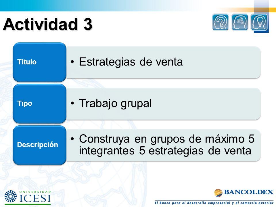 Actividad 3 Estrategias de venta Titulo Trabajo grupal Tipo Construya en grupos de máximo 5 integrantes 5 estrategias de venta Descripción