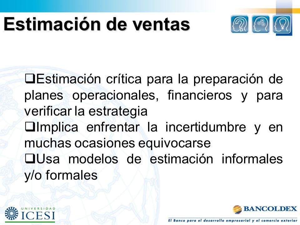 Estimación crítica para la preparación de planes operacionales, financieros y para verificar la estrategia Implica enfrentar la incertidumbre y en muchas ocasiones equivocarse Usa modelos de estimación informales y/o formales Estimación de ventas