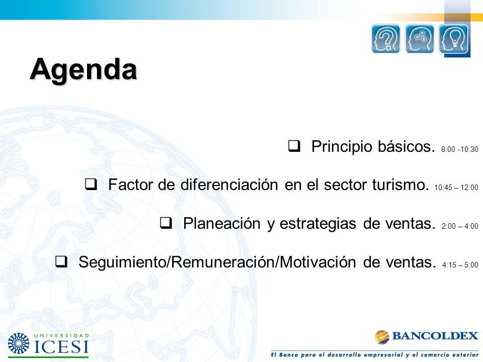 Principio básicos.8:00 -10:30 Factor de diferenciación en el sector turismo.