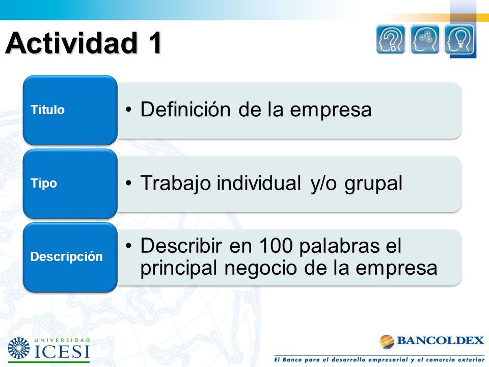 Actividad 1 Definición de la empresa Titulo Trabajo individual y/o grupal Tipo Describir en 100 palabras el principal negocio de la empresa Descripción