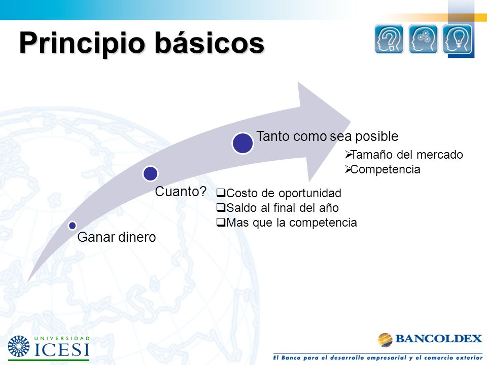 Ganar dinero Principio básicos Tamaño del mercado Competencia Tanto como sea posible Costo de oportunidad Saldo al final del año Mas que la competencia Cuanto?