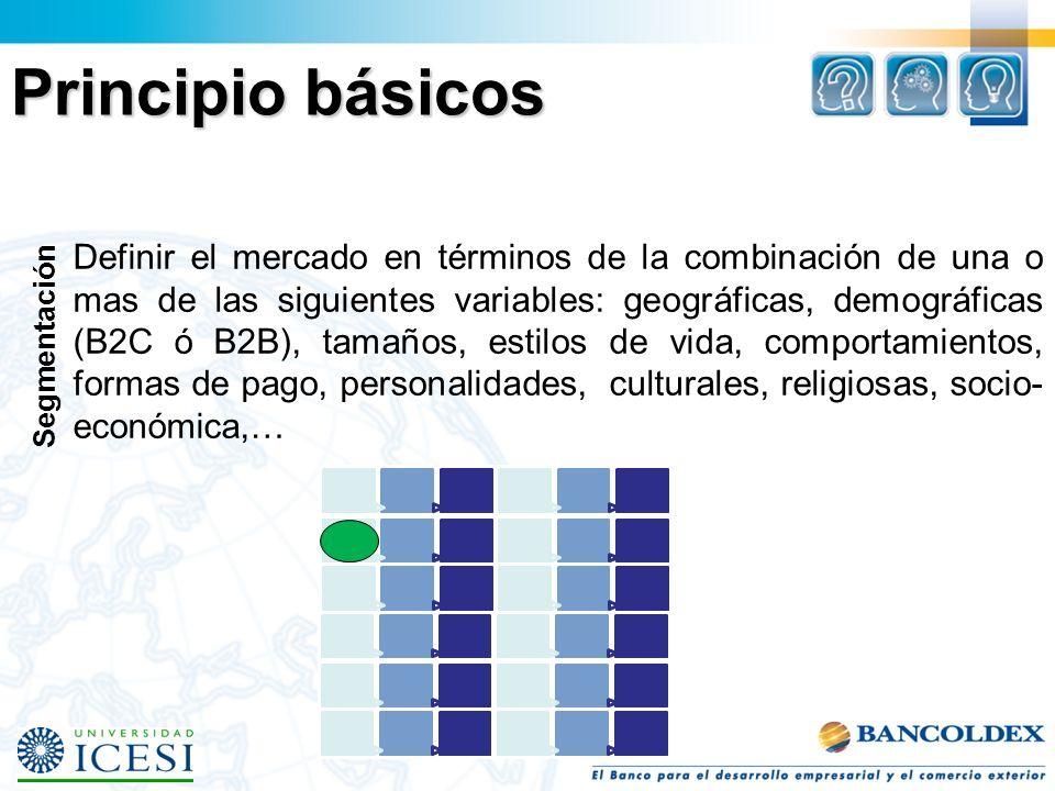 Segmentación Definir el mercado en términos de la combinación de una o mas de las siguientes variables: geográficas, demográficas (B2C ó B2B), tamaños, estilos de vida, comportamientos, formas de pago, personalidades, culturales, religiosas, socio- económica,… Principio básicos