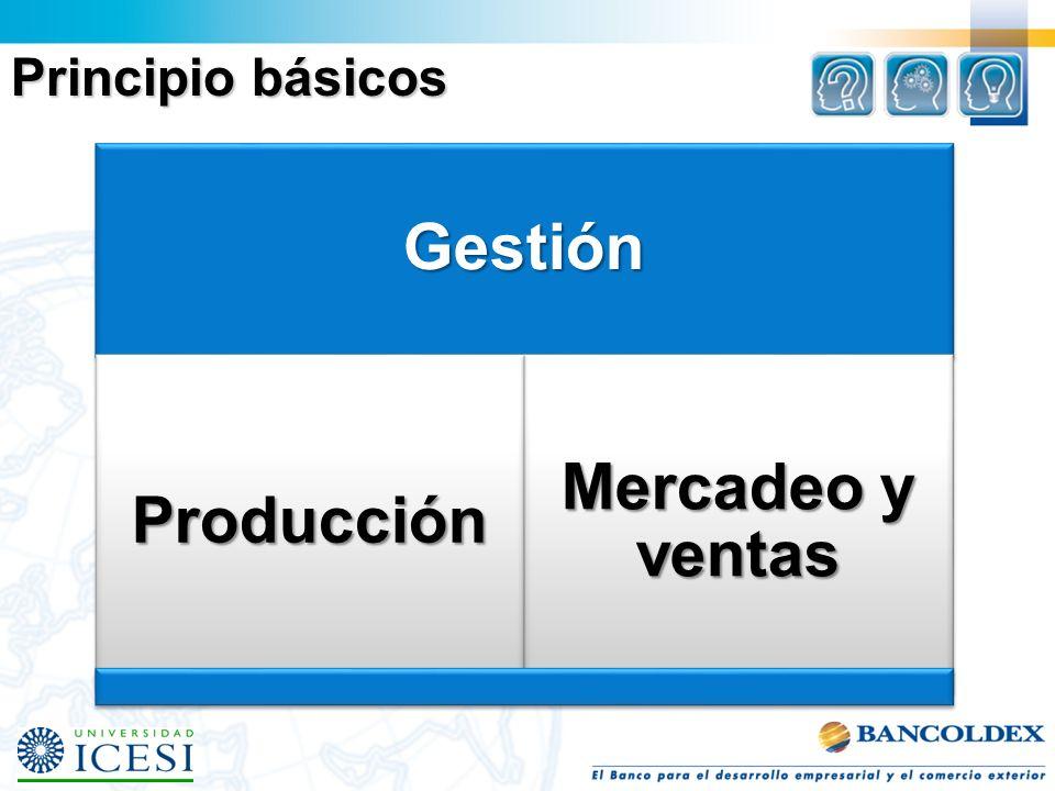 Gestión Producción Mercadeo y ventas Principio básicos
