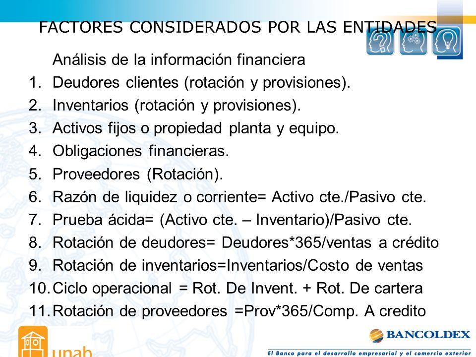 FACTORES CONSIDERADOS POR LAS ENTIDADES Análisis de la información financiera 1.Deudores clientes (rotación y provisiones). 2.Inventarios (rotación y