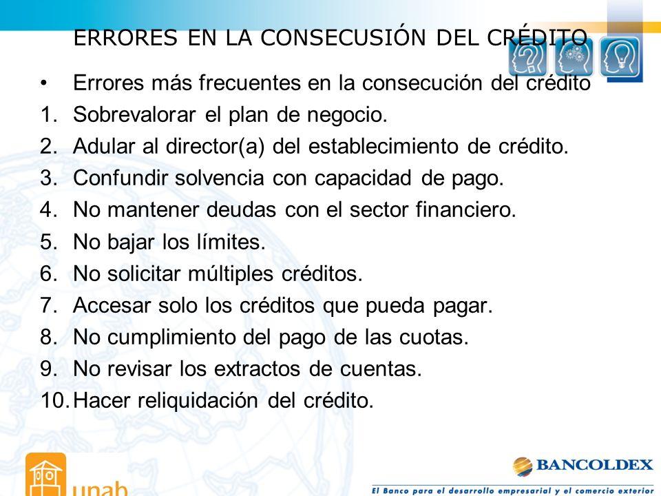 ERRORES EN LA CONSECUSIÓN DEL CRÉDITO Errores más frecuentes en la consecución del crédito 1.Sobrevalorar el plan de negocio. 2.Adular al director(a)