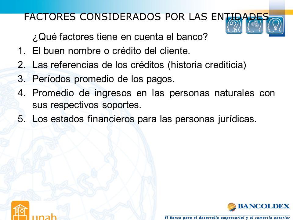 FACTORES CONSIDERADOS POR LAS ENTIDADES ¿Qué factores tiene en cuenta el banco? 1.El buen nombre o crédito del cliente. 2.Las referencias de los crédi