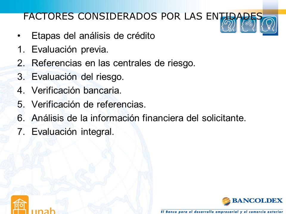 FACTORES CONSIDERADOS POR LAS ENTIDADES Etapas del análisis de crédito 1.Evaluación previa. 2.Referencias en las centrales de riesgo. 3.Evaluación del