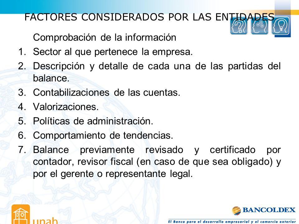 FACTORES CONSIDERADOS POR LAS ENTIDADES Comprobación de la información 1.Sector al que pertenece la empresa. 2.Descripción y detalle de cada una de la