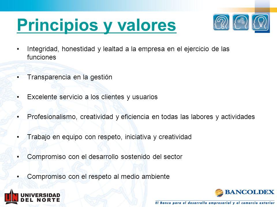 Principios y valores Integridad, honestidad y lealtad a la empresa en el ejercicio de las funciones Transparencia en la gestión Excelente servicio a l