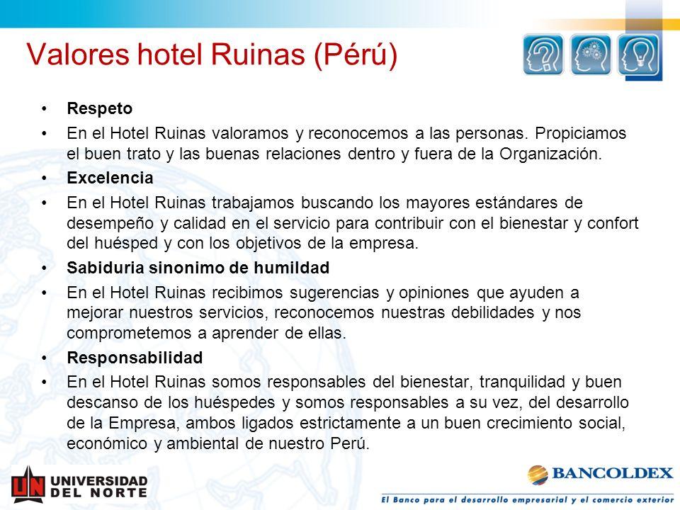 Valores hotel Ruinas (Pérú) Respeto En el Hotel Ruinas valoramos y reconocemos a las personas. Propiciamos el buen trato y las buenas relaciones dentr