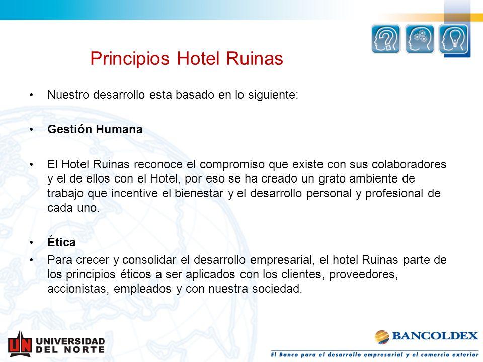 Nuestro desarrollo esta basado en lo siguiente: Gestión Humana El Hotel Ruinas reconoce el compromiso que existe con sus colaboradores y el de ellos c