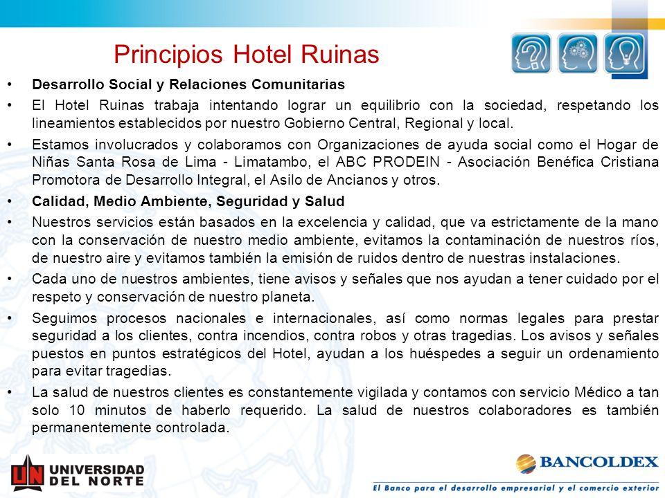 Desarrollo Social y Relaciones Comunitarias El Hotel Ruinas trabaja intentando lograr un equilibrio con la sociedad, respetando los lineamientos estab