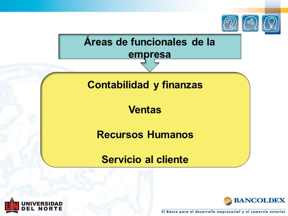 Áreas de funcionales de la empresa Contabilidad y finanzas Ventas Recursos Humanos Servicio al cliente