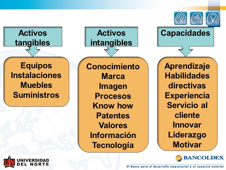 Activos tangibles Equipos Instalaciones Muebles Suministros Activos intangibles Aprendizaje Habilidades directivas Experiencia Servicio al cliente Inn