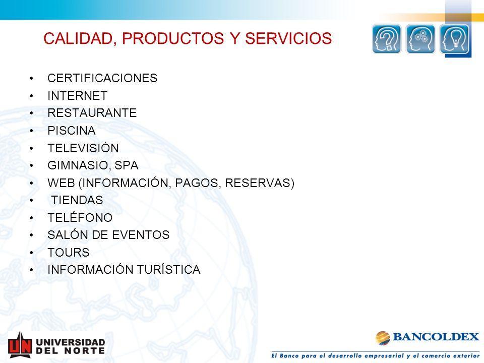 CALIDAD, PRODUCTOS Y SERVICIOS CERTIFICACIONES INTERNET RESTAURANTE PISCINA TELEVISIÓN GIMNASIO, SPA WEB (INFORMACIÓN, PAGOS, RESERVAS) TIENDAS TELÉFO