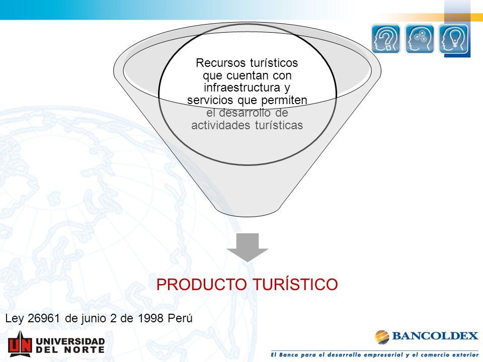 Ley 26961 de junio 2 de 1998 Perú PRODUCTO TURÍSTICO Recursos turísticos que cuentan con infraestructura y servicios que permiten el desarrollo de act