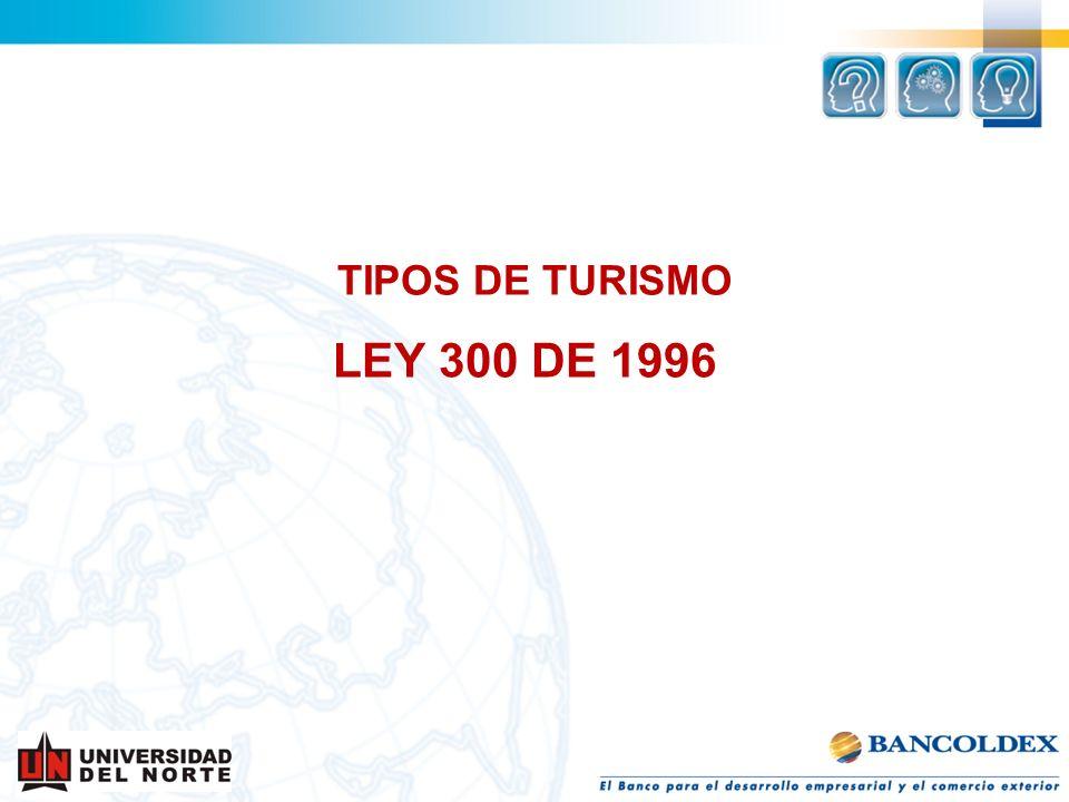 TIPOS DE TURISMO LEY 300 DE 1996
