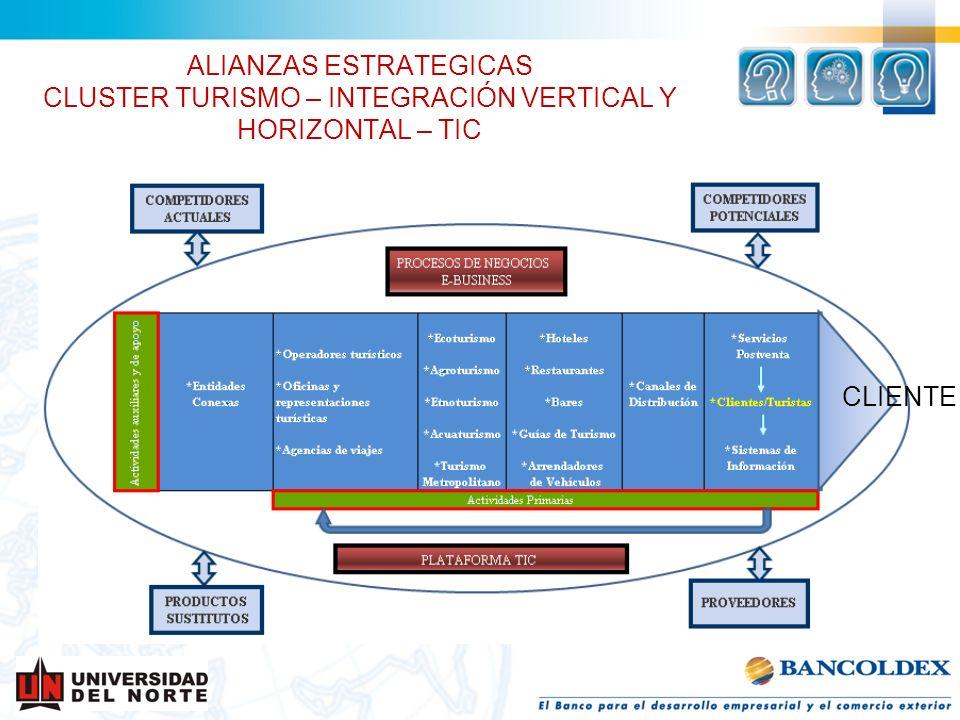 ALIANZAS ESTRATEGICAS CLUSTER TURISMO – INTEGRACIÓN VERTICAL Y HORIZONTAL – TIC CLIENTE