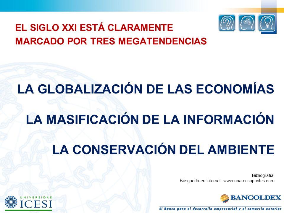 LA GLOBALIZACIÓN DE LAS ECONOMÍAS LA MASIFICACIÓN DE LA INFORMACIÓN LA CONSERVACIÓN DEL AMBIENTE EL SIGLO XXI ESTÁ CLARAMENTE MARCADO POR TRES MEGATEN