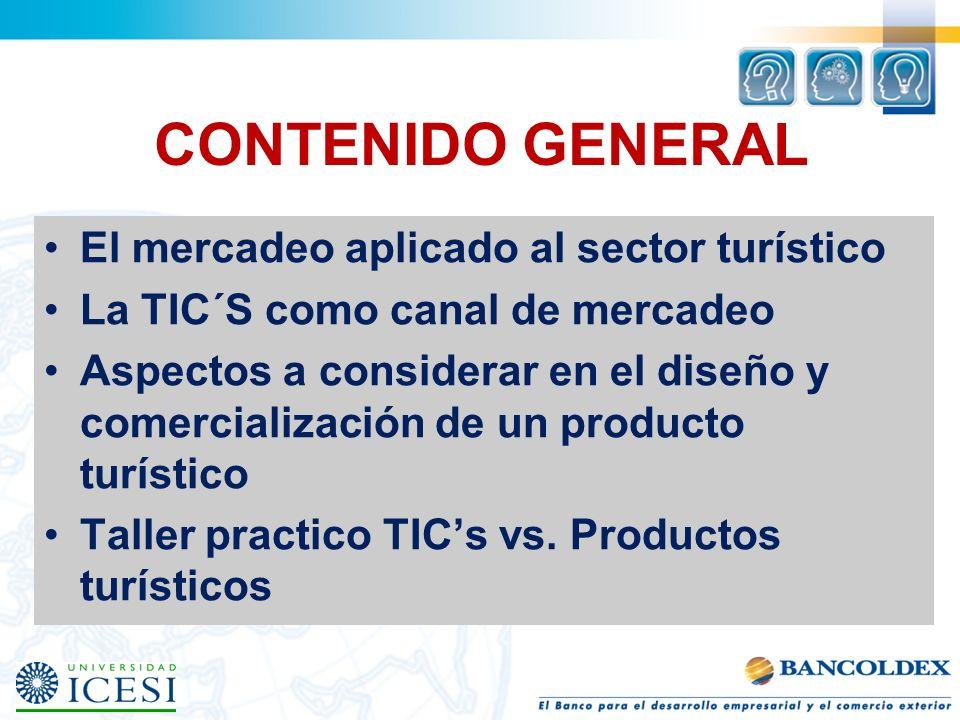 CONTENIDO GENERAL El mercadeo aplicado al sector turístico La TIC´S como canal de mercadeo Aspectos a considerar en el diseño y comercialización de un