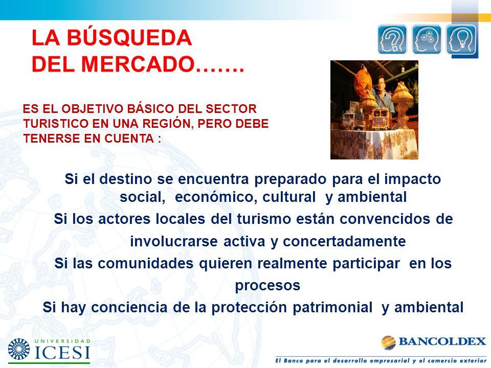 LA BÚSQUEDA DEL MERCADO……. Si el destino se encuentra preparado para el impacto social, económico, cultural y ambiental Si los actores locales del tur
