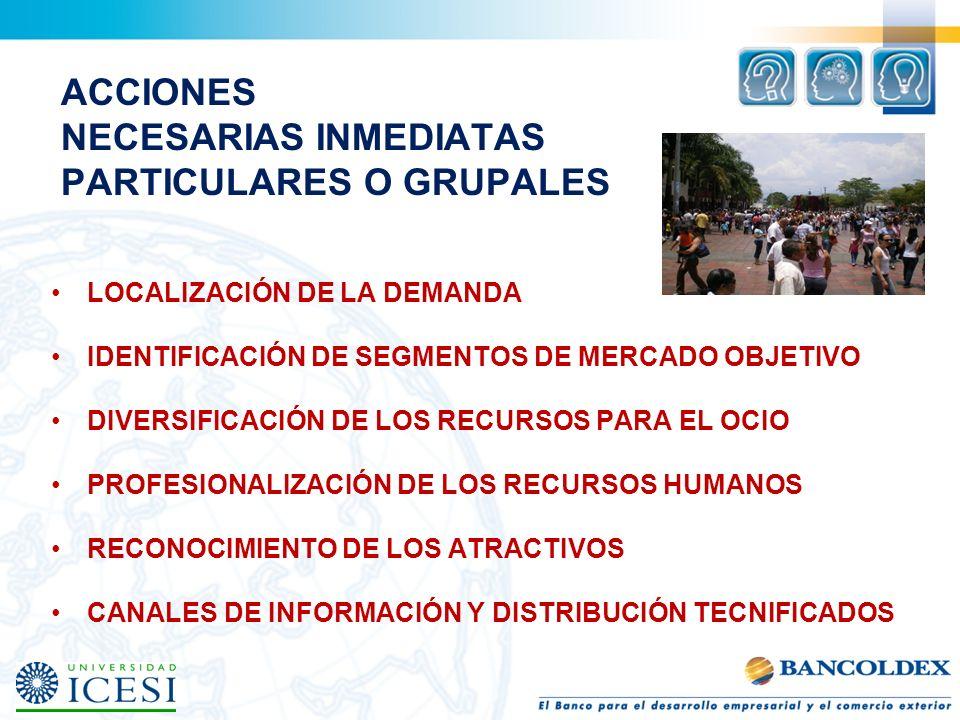 ACCIONES NECESARIAS INMEDIATAS PARTICULARES O GRUPALES LOCALIZACIÓN DE LA DEMANDA IDENTIFICACIÓN DE SEGMENTOS DE MERCADO OBJETIVO DIVERSIFICACIÓN DE L