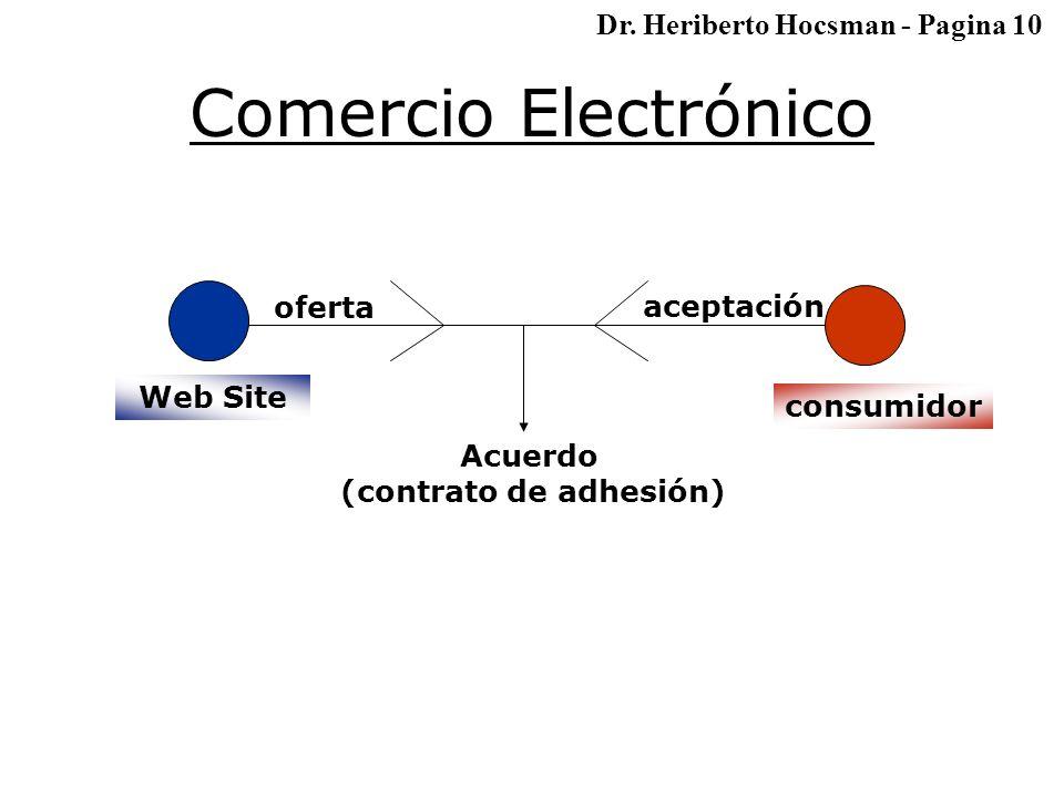 Comercio Electrónico consumidor oferta aceptación Acuerdo (contrato de adhesión) Web Site Dr.