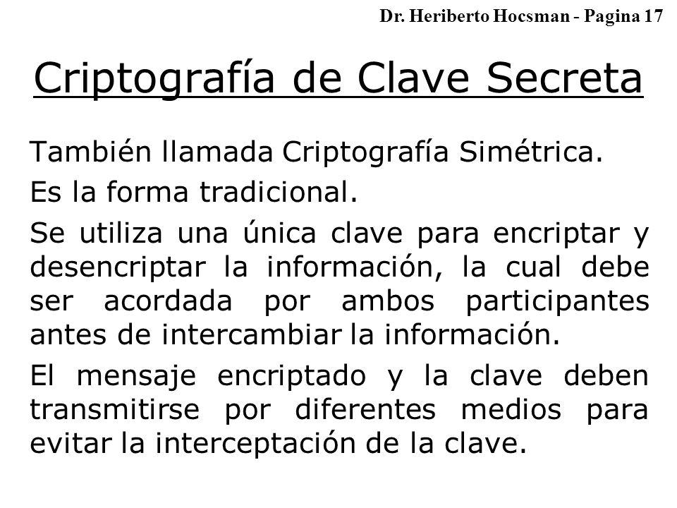 Criptografía de Clave Secreta También llamada Criptografía Simétrica.