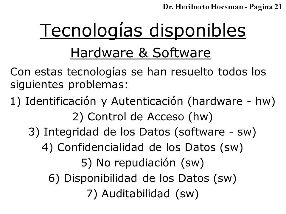 Tecnologías disponibles Hardware & Software Con estas tecnologías se han resuelto todos los siguientes problemas: 1) Identificación y Autenticación (hardware - hw) 2) Control de Acceso (hw) 3) Integridad de los Datos (software - sw) 4) Confidencialidad de los Datos (sw) 5) No repudiación (sw) 6) Disponibilidad de los Datos (sw) 7) Auditabilidad (sw) Dr.