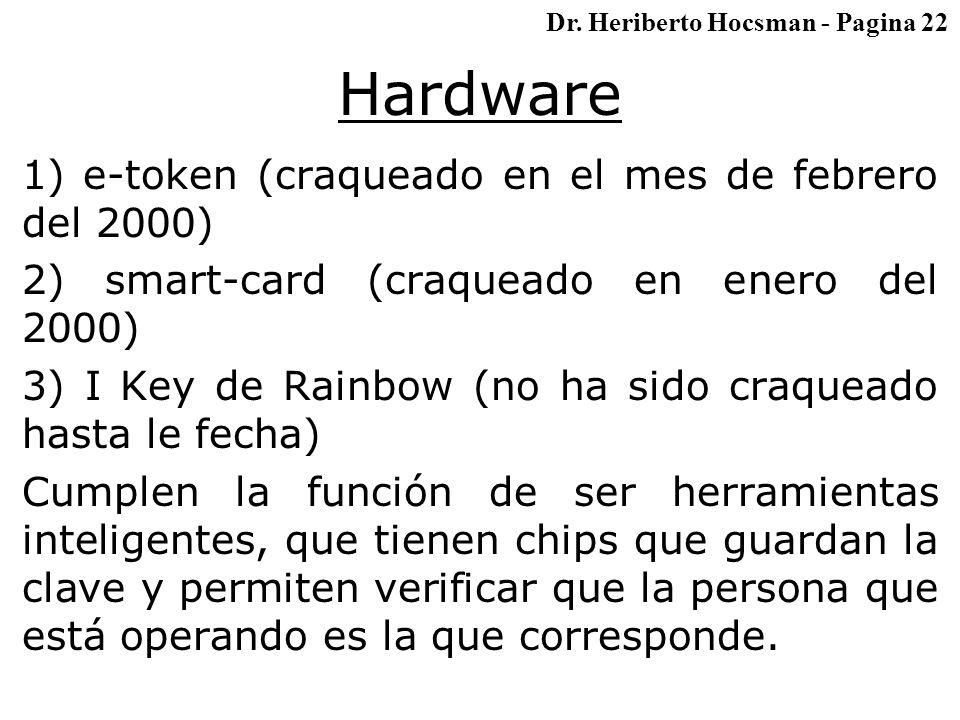 Hardware 1) e-token (craqueado en el mes de febrero del 2000) 2) smart-card (craqueado en enero del 2000) 3) I Key de Rainbow (no ha sido craqueado hasta le fecha) Cumplen la función de ser herramientas inteligentes, que tienen chips que guardan la clave y permiten verificar que la persona que está operando es la que corresponde.