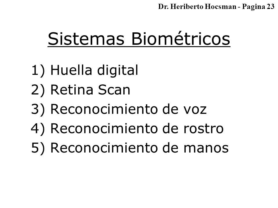 Sistemas Biométricos 1) Huella digital 2) Retina Scan 3) Reconocimiento de voz 4) Reconocimiento de rostro 5) Reconocimiento de manos Dr.