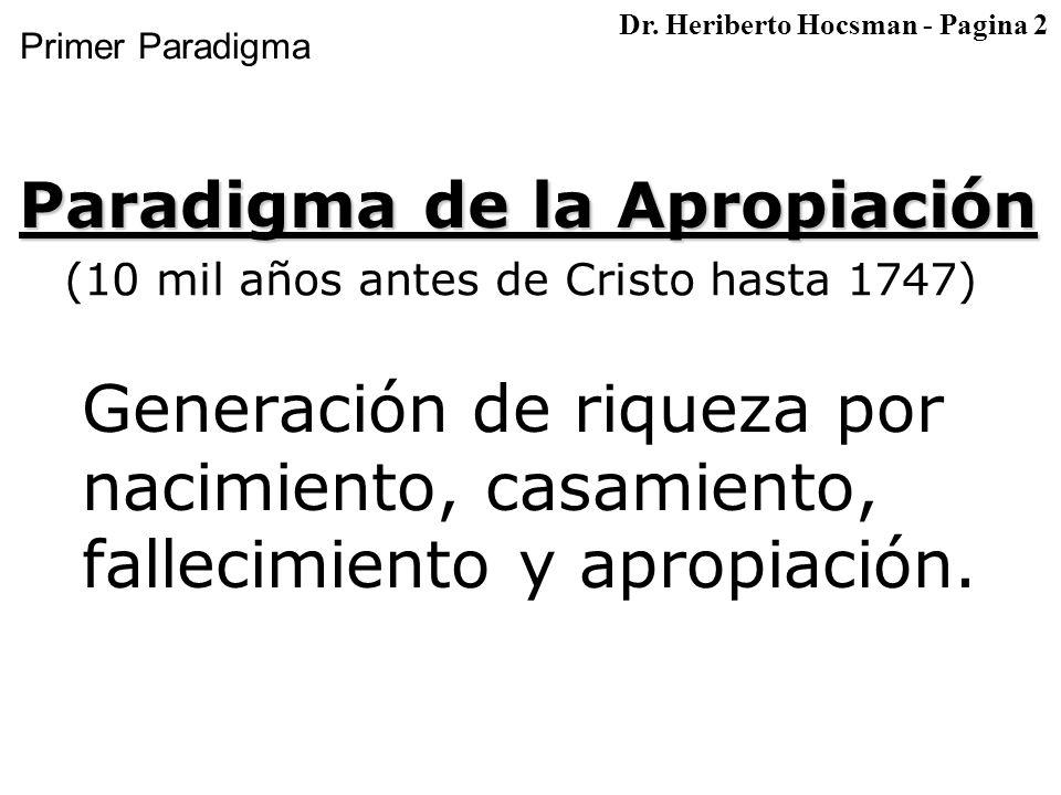 Primer Paradigma Generación de riqueza por nacimiento, casamiento, fallecimiento y apropiación.