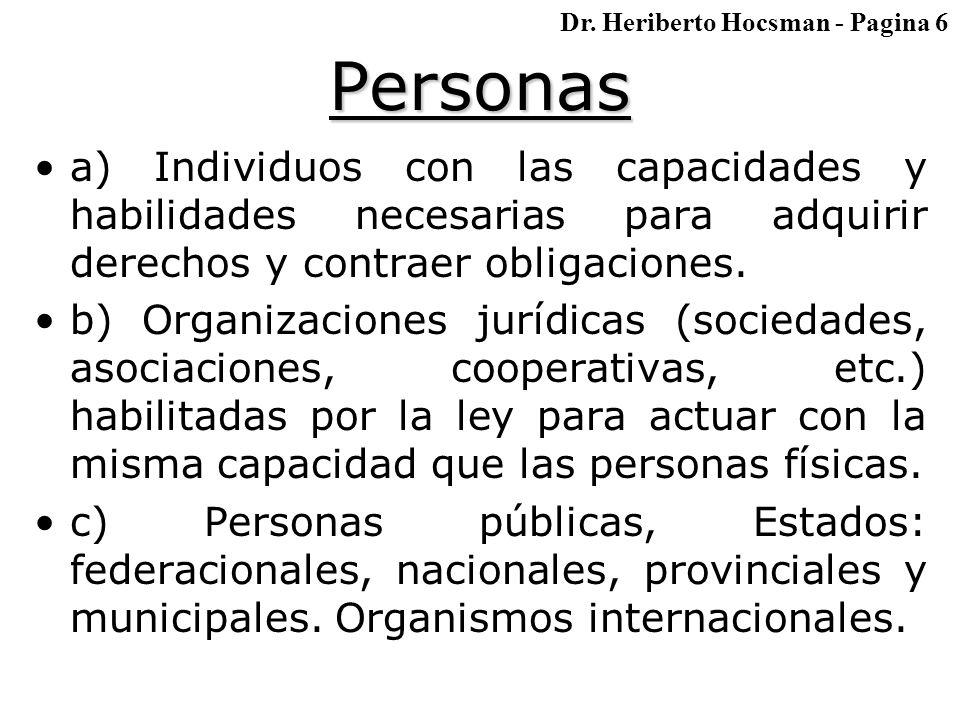 Personas a) Individuos con las capacidades y habilidades necesarias para adquirir derechos y contraer obligaciones.