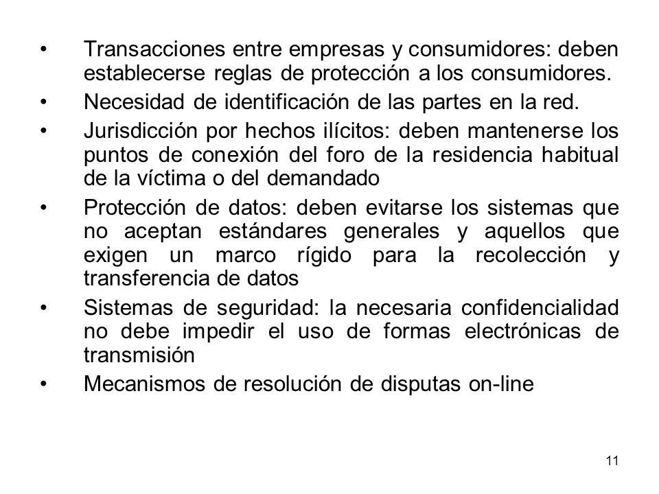 11 Transacciones entre empresas y consumidores: deben establecerse reglas de protección a los consumidores. Necesidad de identificación de las partes