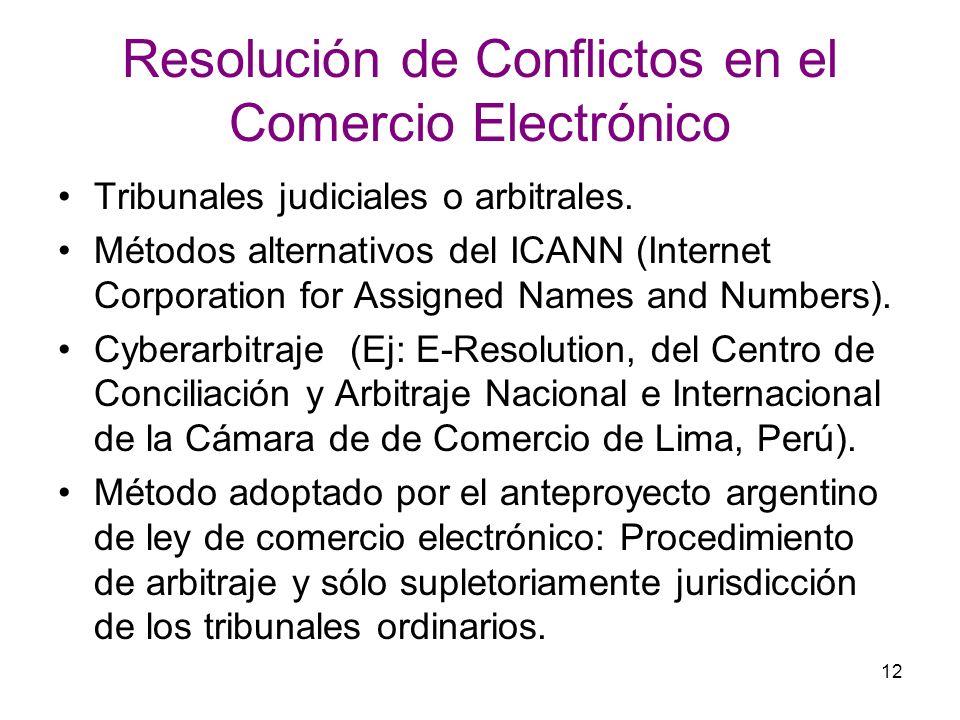 12 Resolución de Conflictos en el Comercio Electrónico Tribunales judiciales o arbitrales. Métodos alternativos del ICANN (Internet Corporation for As