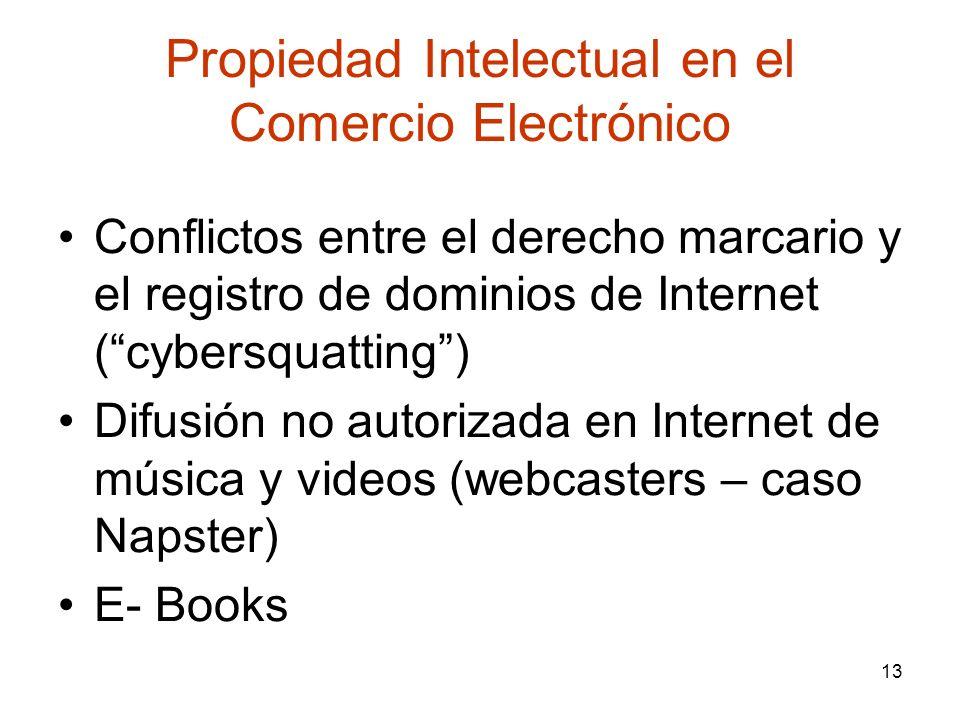 13 Propiedad Intelectual en el Comercio Electrónico Conflictos entre el derecho marcario y el registro de dominios de Internet (cybersquatting) Difusi