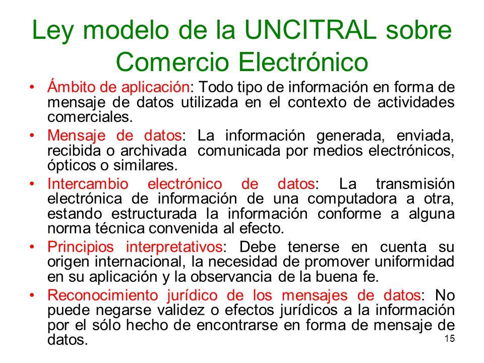 15 Ley modelo de la UNCITRAL sobre Comercio Electrónico Ámbito de aplicación: Todo tipo de información en forma de mensaje de datos utilizada en el co