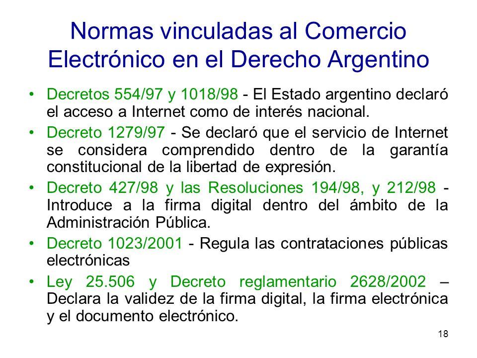 18 Normas vinculadas al Comercio Electrónico en el Derecho Argentino Decretos 554/97 y 1018/98 - El Estado argentino declaró el acceso a Internet como
