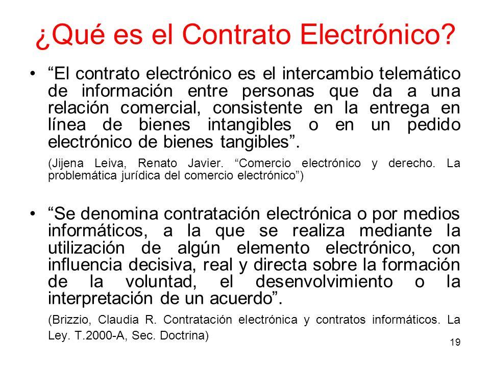 19 ¿Qué es el Contrato Electrónico? El contrato electrónico es el intercambio telemático de información entre personas que da a una relación comercial