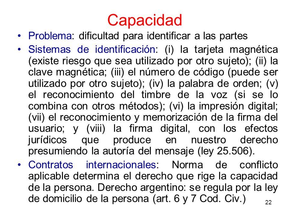 22 Capacidad Problema: dificultad para identificar a las partes Sistemas de identificación: (i) la tarjeta magnética (existe riesgo que sea utilizado