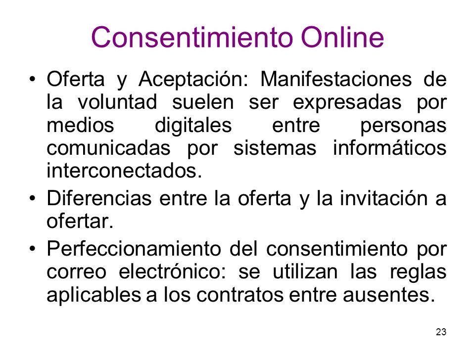 23 Consentimiento Online Oferta y Aceptación: Manifestaciones de la voluntad suelen ser expresadas por medios digitales entre personas comunicadas por