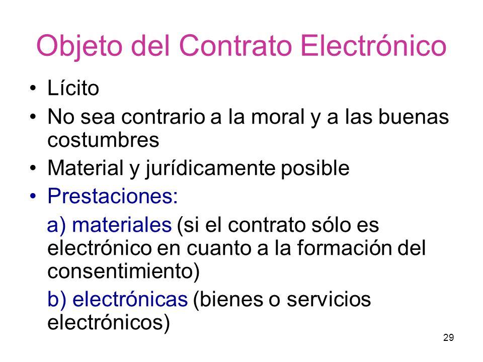 29 Objeto del Contrato Electrónico Lícito No sea contrario a la moral y a las buenas costumbres Material y jurídicamente posible Prestaciones: a) mate