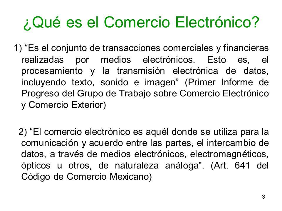 3 ¿Qué es el Comercio Electrónico? 1) Es el conjunto de transacciones comerciales y financieras realizadas por medios electrónicos. Esto es, el proces
