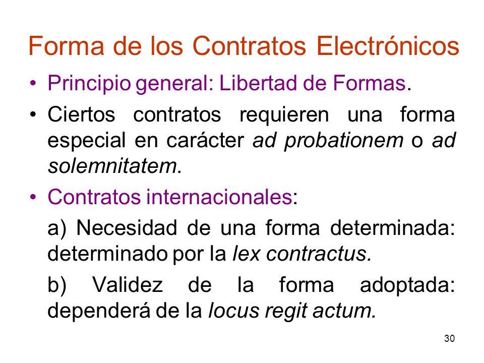 30 Forma de los Contratos Electrónicos Principio general: Libertad de Formas. Ciertos contratos requieren una forma especial en carácter ad probatione