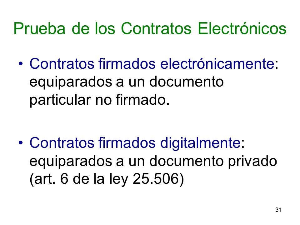 31 Prueba de los Contratos Electrónicos Contratos firmados electrónicamente: equiparados a un documento particular no firmado. Contratos firmados digi