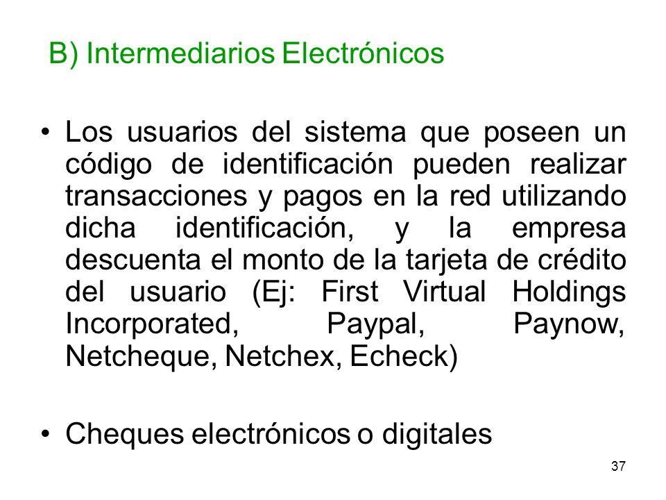 37 B) Intermediarios Electrónicos Los usuarios del sistema que poseen un código de identificación pueden realizar transacciones y pagos en la red util